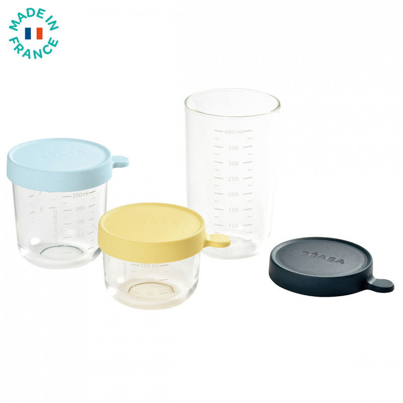 Picture of Beaba® Set of 3 Conservative Jars in glass (150 ml yellow / 250 ml light blue / 400 ml dark blue)