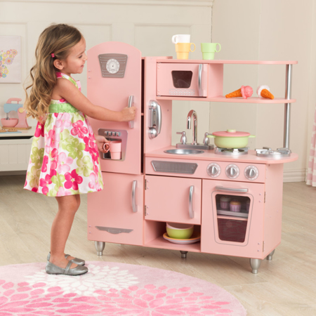 KidKratft® Vintage Play Kitchen - Pink/Silver