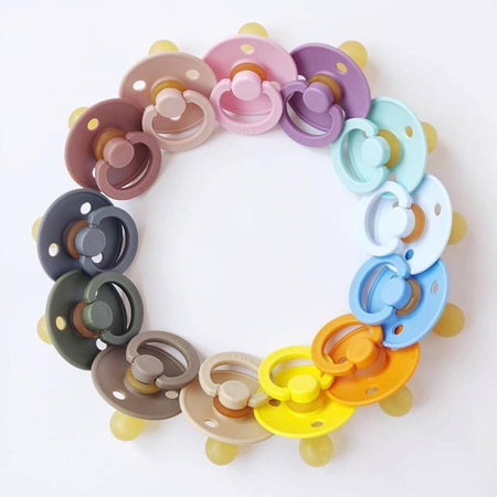 Picture of Bibs® Natural Rubber Baby Pacifier Mustard & Smoke (0-6m)