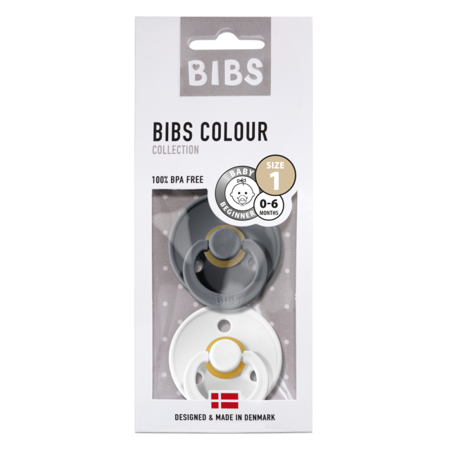Picture of Bibs® Natural Rubber Baby Pacifier Iron & White 1 (0-6m)