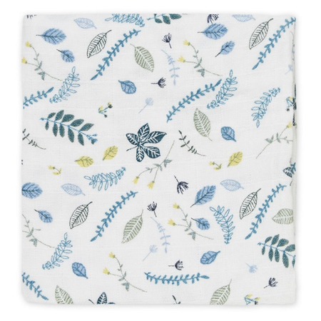 Picture of CamCam® Musling Cloth Pressed Leaves Blue 2pack (70x70)