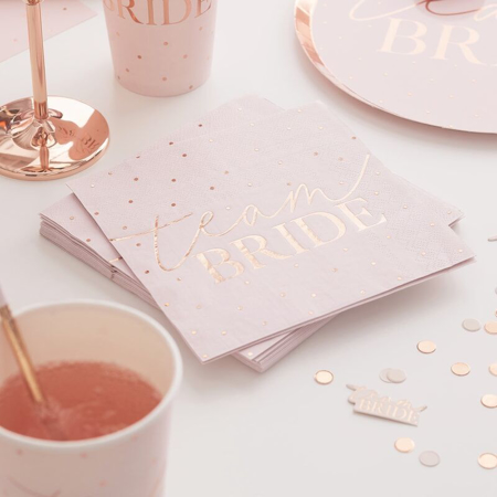 Picture of Ginger Ray® Rose Gold Foiled Pink Napkins
