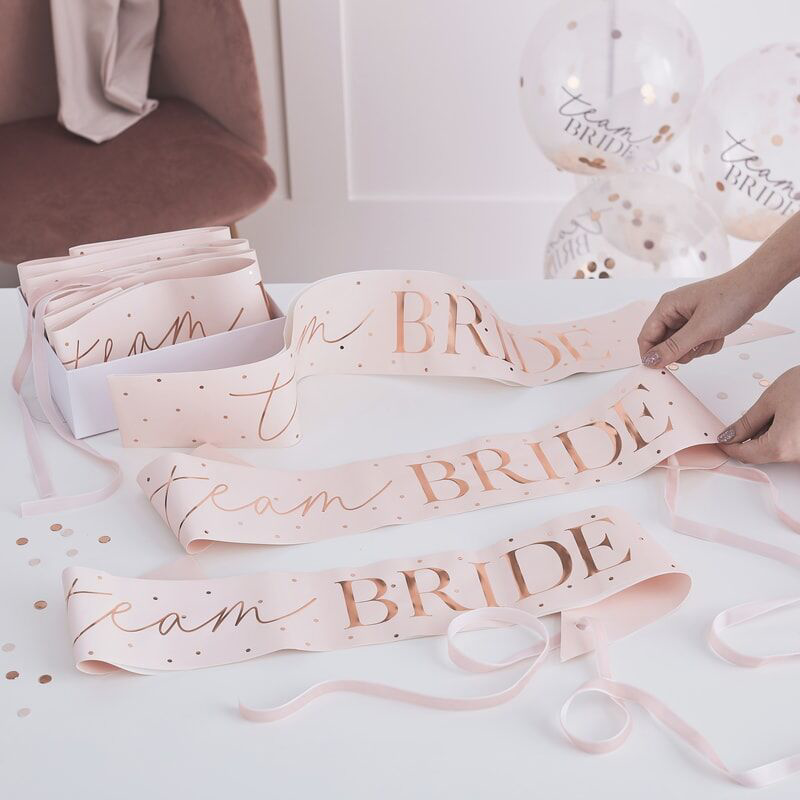 Picture of Ginger Ray® 6 Rose Gold Team Bride Sashes