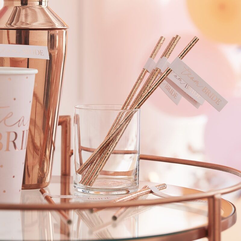 Picture of Ginger Ray® Rose Gold Team Bride Flag Straws