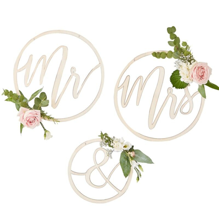 Ginger Ray® Mr & Mrs Wooden Hoops Decoration