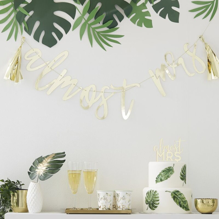 Picture of Ginger Ray® Gold 'Almost Mrs' Scripted bunting