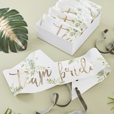 Picture of Ginger Ray® Team Bride Botanical Sash 6 Pack