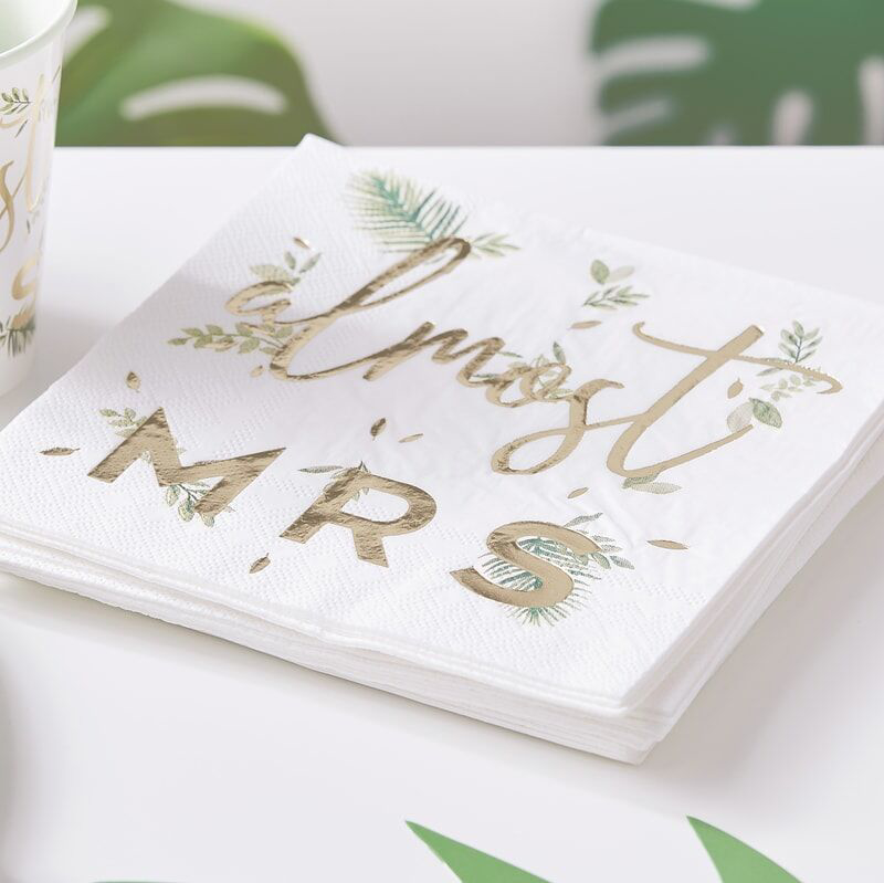 Picture of Ginger Ray® Gold Foiled Pink Napkins Almost Mrs