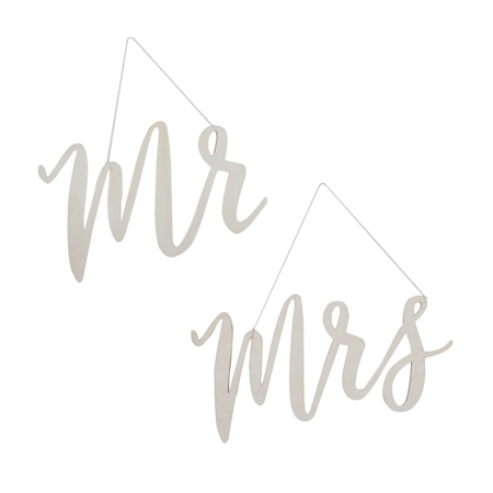 Picture of Ginger Ray® Wooden Signs Mr and Mrs Chair Signs