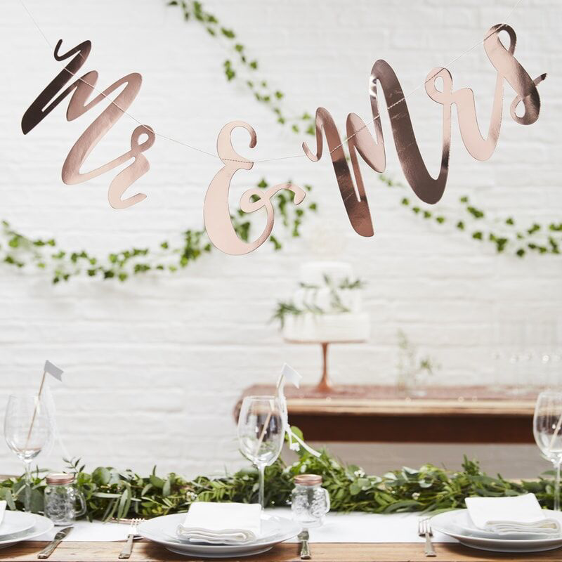 Picture of Ginger Ray® Backdrop - Mr and Mrs - Rose Gold