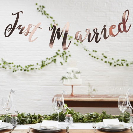 Picture of Ginger Ray® Backdrop - Just Married - Rose Gold