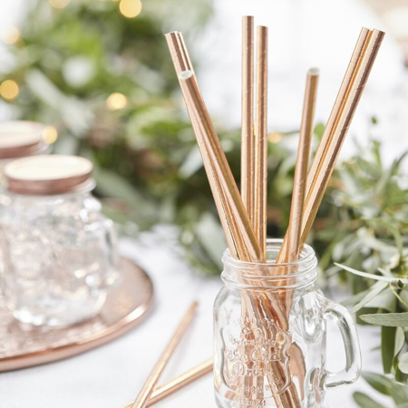 Picture of Ginger Ray® Beautiful Botanics - Straws - Rose Gold