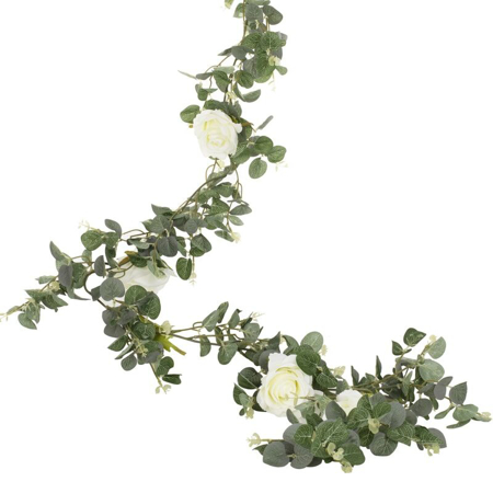 Ginger Ray® Artificial Eucalyptus Gerland White Roses