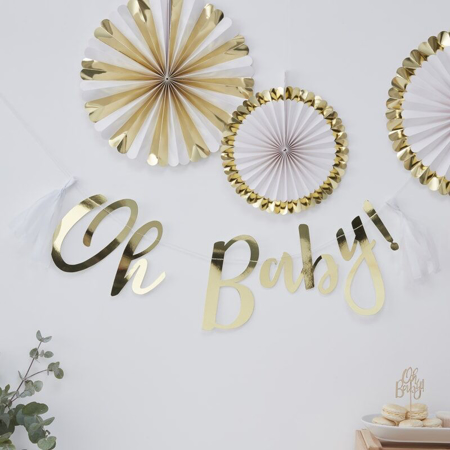 Picture of Ginger Ray® Baby Shower Bunting Gold Oh Baby!
