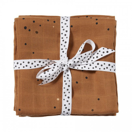 Picture of Done by Deer® Burp cloth 2-pack Dreamy dots Mustard