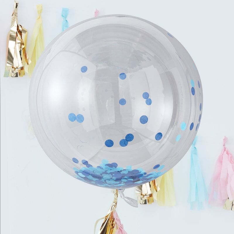 Picture of Ginger Ray® Giant confetti orb ballons Blue 3pcs