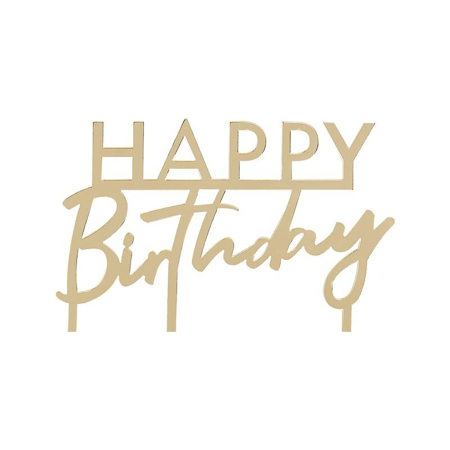 Picture of Ginger Ray® Gold Foiled Happy Birthday Cake Topper