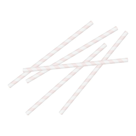 Ginger Ray® Pink Stripe Paper Straws 20pcs