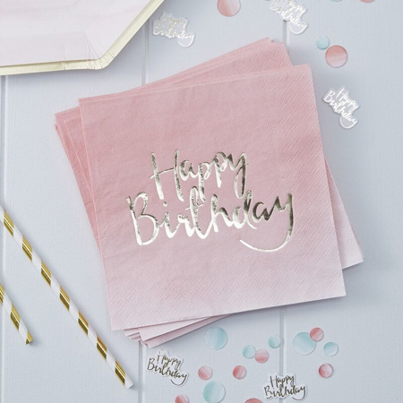 Picture of Ginger Ray® Happy Birthday Foiled Pink Ombre Napkins 20psc