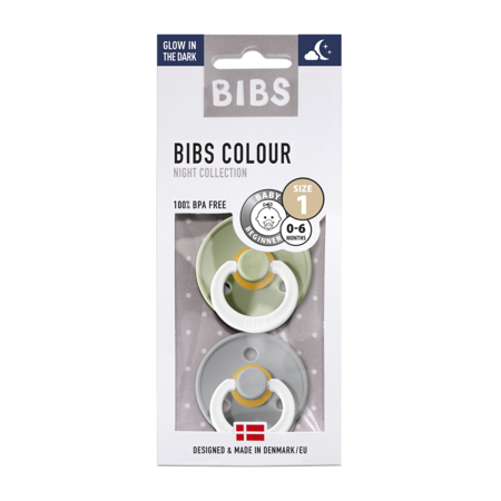 Picture of Bibs® Natural Rubber Baby Pacifier Night Sage & Cloud 1 (0-6m)