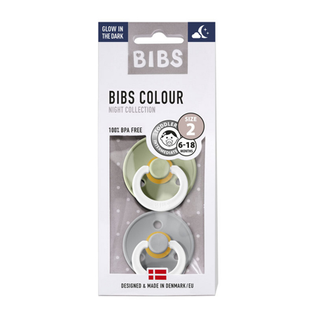 Picture of Bibs® Natural Rubber Baby Pacifier Night Sage & Cloud 2 (6-18m)