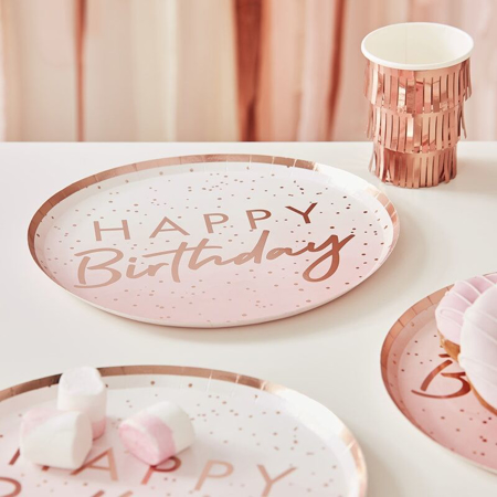 Picture of Ginger Ray® Rose Gold foil Happy Birthday plates