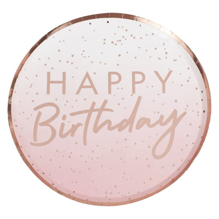Ginger Ray® Rose Gold foil Happy Birthday plates