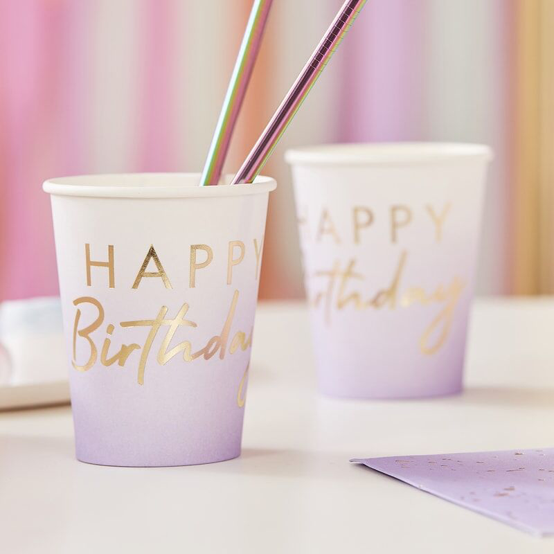 Picture of Ginger Ray® Lilac Ombre Gold Happy Birthday Party Cups