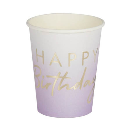 Ginger Ray® Lilac Ombre Gold Happy Birthday Party Cups