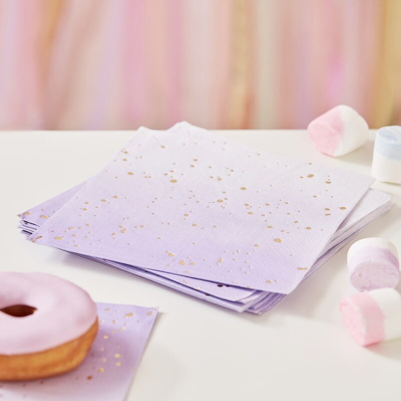 Picture of Ginger Ray® Gold foiled Lilac Ombre Napkins