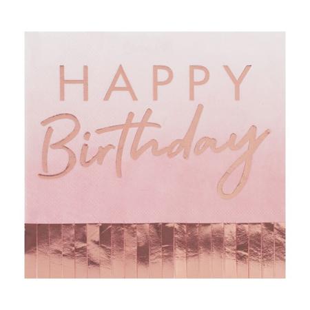 Ginger Ray® Rose Gold & Pink Ombre Fringe Paper Napkins