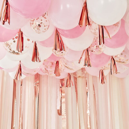 Picture of Ginger Ray® Blush, White And Rose Gold Ceiling Balloons With Tassels