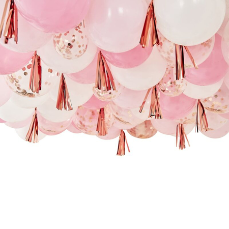 Ginger Ray® Blush, White And Rose Gold Ceiling Balloons With Tassels