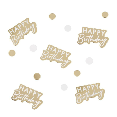 Ginger Ray® Gold And White Happy Birthday Confetti