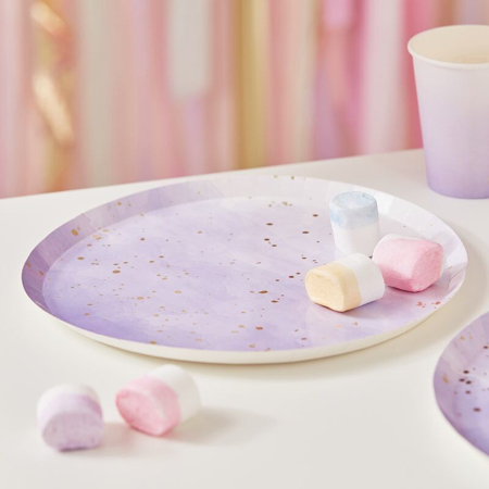 Picture of Ginger Ray® Gold Watercolour Speckle Lilac Paper Plates