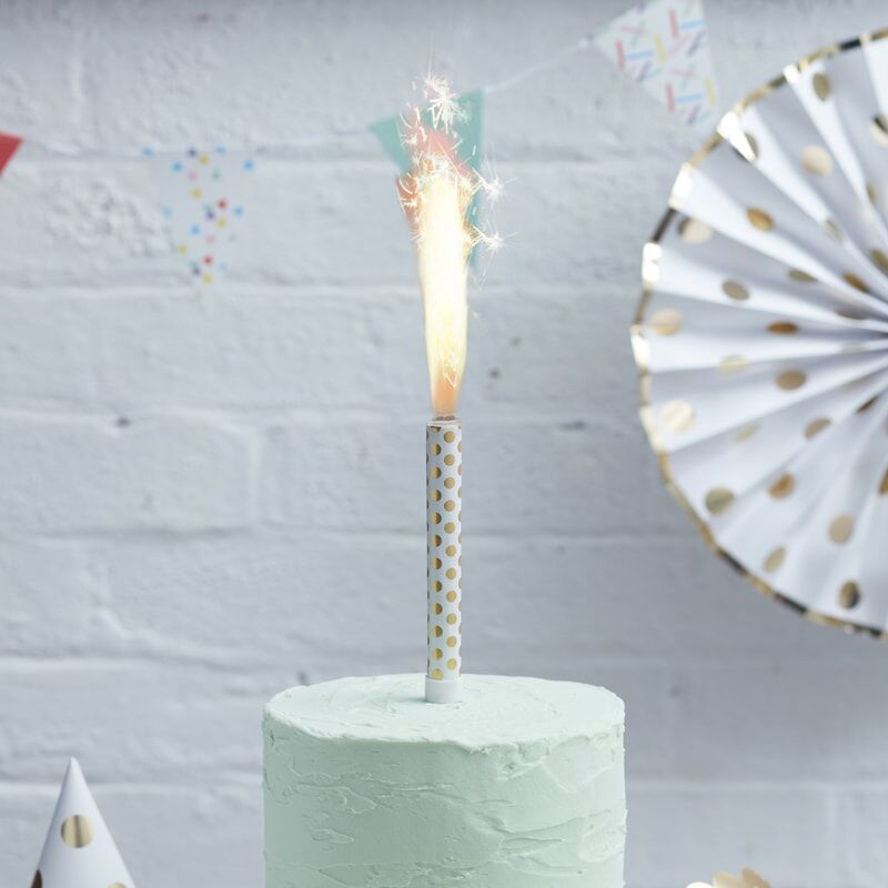 Picture of Ginger Ray® Gold Polka Dot Foiled Cake Fountain Candles