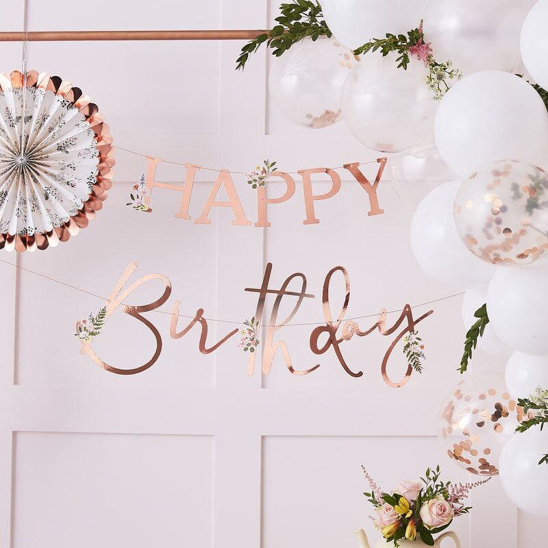 Picture of Ginger Ray® Floral Rose Gold Happy Birthday Banner