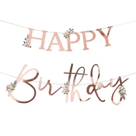 Ginger Ray® Floral Rose Gold Happy Birthday Banner