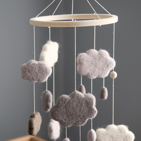 Picture of Sebra® Felted baby mobile Clouds Warm Grey