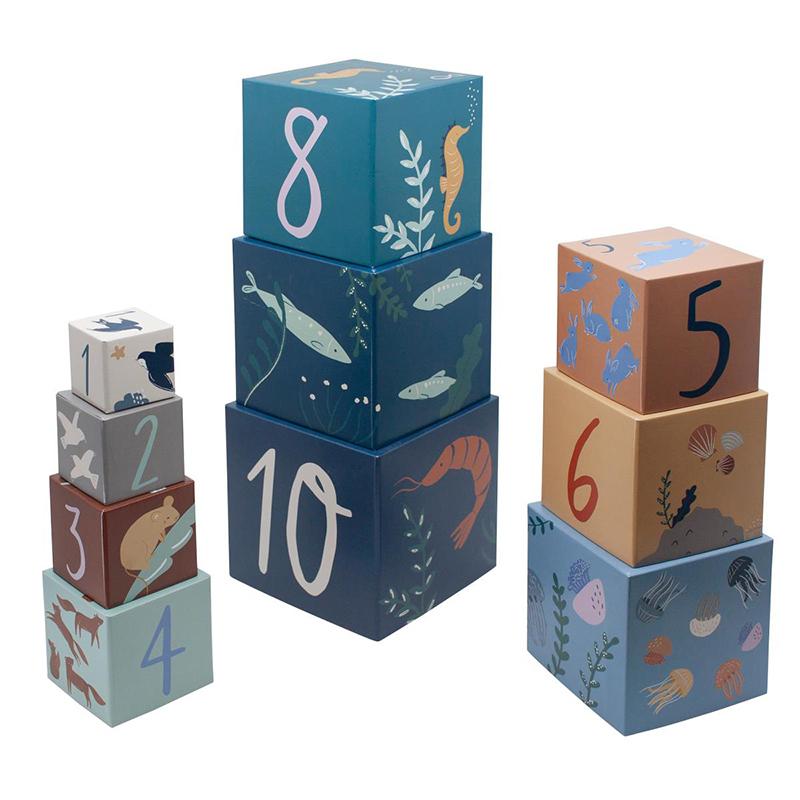 Picture of Sebra® Stacking blocks, 10 pcs., Seven Seas/Daydream
