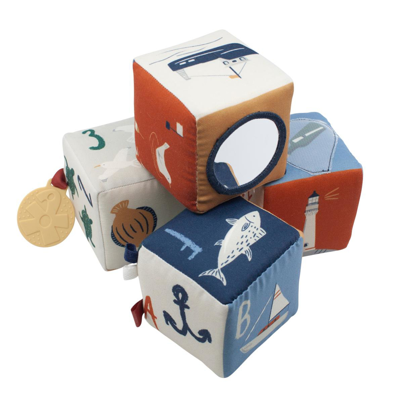 Picture of Sebra® Soft baby blocks, 4 pcs.,  Seven Seas