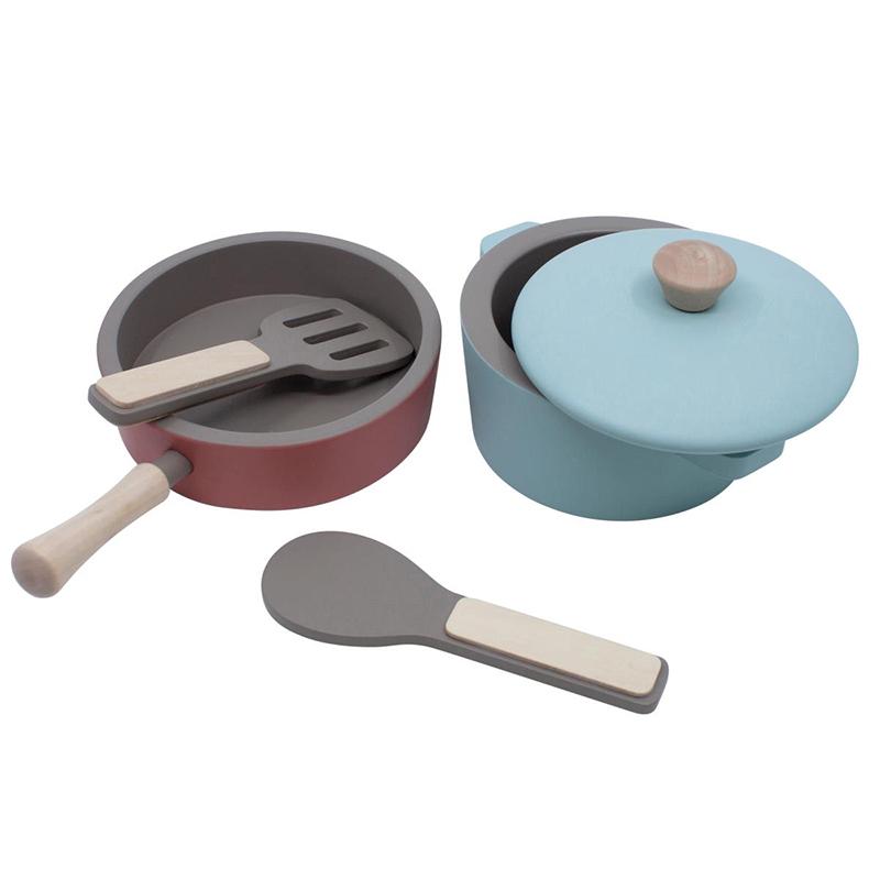 Picture of Sebra® Wooden kitchen tools set Warm Grey