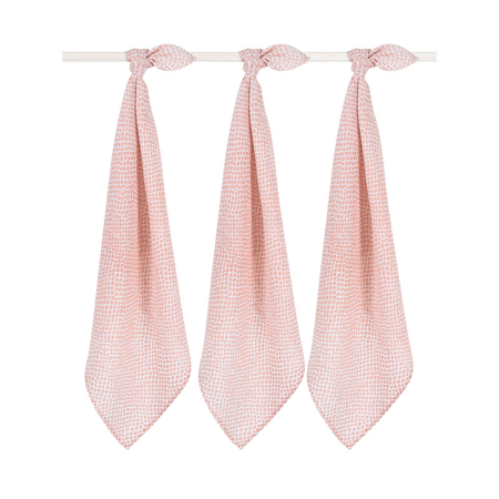 Picture of Jollein® Muslin multi cloth small 70x70cm Snake pale pink (3pack)
