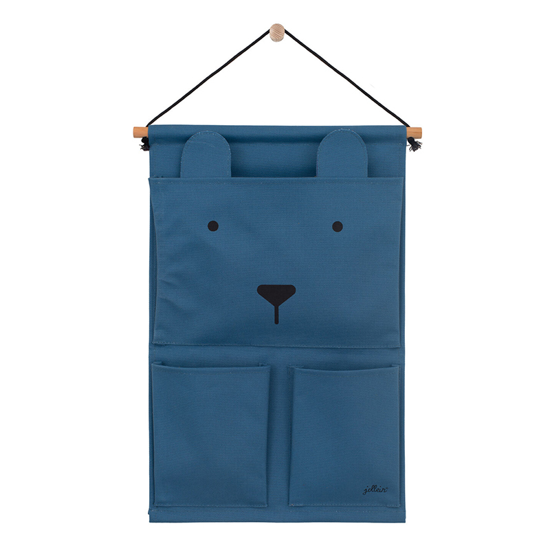 Picture of Jollein® Wall organizer Canvas Animal club Steel Blue
