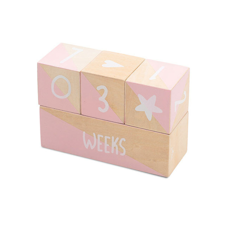 Picture of Jollein® Milestone blocks white / pink (4pcs)