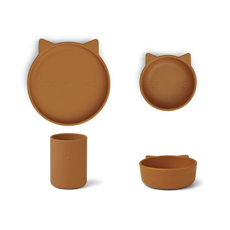 Picture of Liewood® Cyrus Silicone Tableware 3 pack Junior Cat mustard
