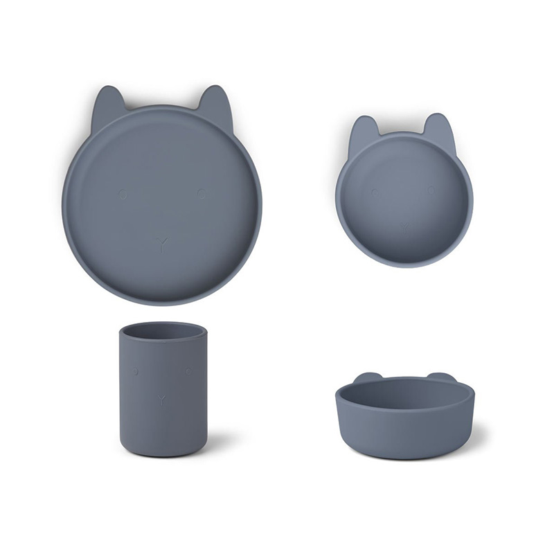 Picture of Liewood® Cyrus Silicone Tableware 3 pack Junior Rabbit Blue Wave