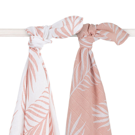 Picture of Jollein® Muslin multi-cloth large Nature Pale Pink 2pack 115x115
