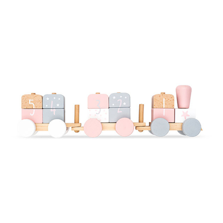 Picture of Jollein® Wooden train Stars Grey & Pink