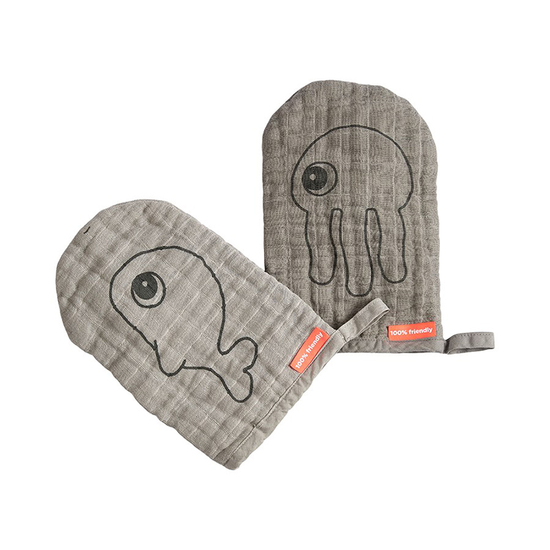 Picture of Done by Deer®  Wash cloth 2-pack Sea friends Grey